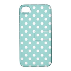 Blue And White Polka Dots Apple Iphone 4/4s Hardshell Case With Stand