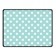 Blue And White Polka Dots Double Sided Fleece Blanket (Small)
