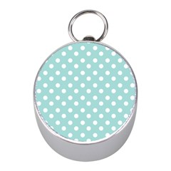 Blue And White Polka Dots Mini Silver Compasses