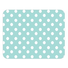 Blue And White Polka Dots Double Sided Flano Blanket (Large)