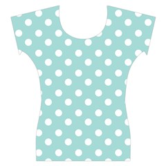 Blue And White Polka Dots Women s Cap Sleeve Top