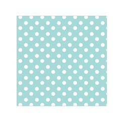 Blue And White Polka Dots Small Satin Scarf (Square)