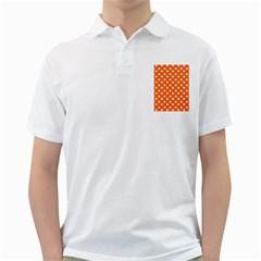 Orange And White Polka Dots Golf Shirts
