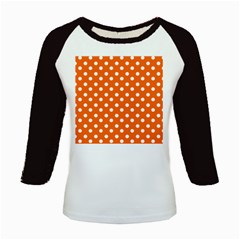 Orange And White Polka Dots Kids Baseball Jerseys