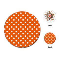 Orange And White Polka Dots Playing Cards (Round)