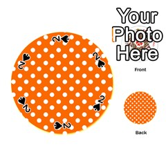 Orange And White Polka Dots Playing Cards 54 (Round)