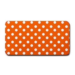 Orange And White Polka Dots Medium Bar Mats