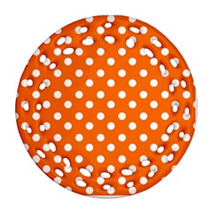 Orange And White Polka Dots Round Filigree Ornament (2Side)