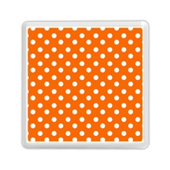 Orange And White Polka Dots Memory Card Reader (Square)