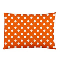 Orange And White Polka Dots Pillow Cases (Two Sides)