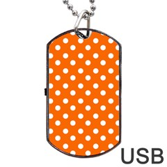 Orange And White Polka Dots Dog Tag USB Flash (One Side)