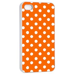 Orange And White Polka Dots Apple iPhone 4/4s Seamless Case (White)