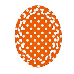 Orange And White Polka Dots Ornament (oval Filigree)