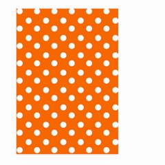 Orange And White Polka Dots Large Garden Flag (Two Sides)