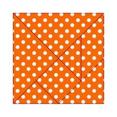 Orange And White Polka Dots Acrylic Tangram Puzzle (6  x 6 )