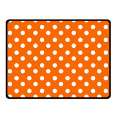 Orange And White Polka Dots Double Sided Fleece Blanket (Small)