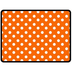 Orange And White Polka Dots Double Sided Fleece Blanket (Large)