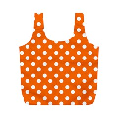 Orange And White Polka Dots Full Print Recycle Bags (m)