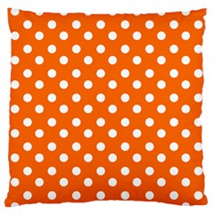 Orange And White Polka Dots Large Flano Cushion Cases (one Side)