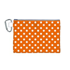Orange And White Polka Dots Canvas Cosmetic Bag (M)