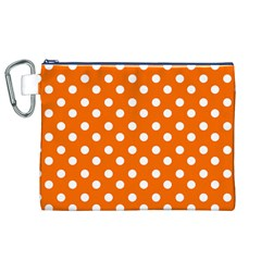 Orange And White Polka Dots Canvas Cosmetic Bag (XL)