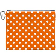 Orange And White Polka Dots Canvas Cosmetic Bag (xxxl)