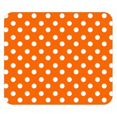 Orange And White Polka Dots Double Sided Flano Blanket (small)