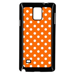 Orange And White Polka Dots Samsung Galaxy Note 4 Case (Black)
