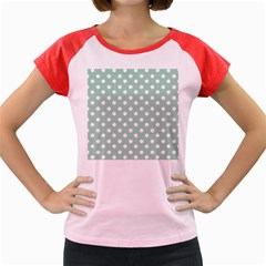 Light Blue And White Polka Dots Women s Cap Sleeve T-Shirt