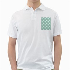 Light Blue And White Polka Dots Golf Shirts