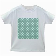 Light Blue And White Polka Dots Kids White T Shirts