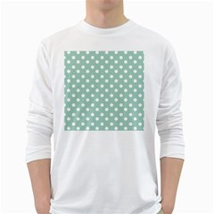 Light Blue And White Polka Dots White Long Sleeve T-Shirts