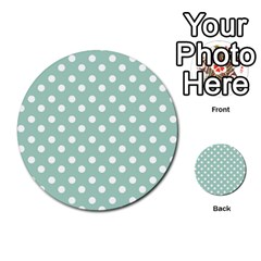 Light Blue And White Polka Dots Multi Purpose Cards (round)