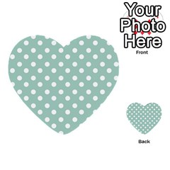 Light Blue And White Polka Dots Multi Purpose Cards (heart)