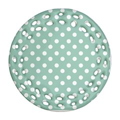 Light Blue And White Polka Dots Round Filigree Ornament (2Side)