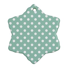 Light Blue And White Polka Dots Snowflake Ornament (2 Side)