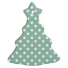 Light Blue And White Polka Dots Christmas Tree Ornament (2 Sides)