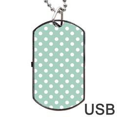 Light Blue And White Polka Dots Dog Tag USB Flash (Two Sides)