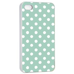 Light Blue And White Polka Dots Apple iPhone 4/4s Seamless Case (White)