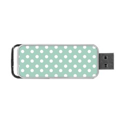 Light Blue And White Polka Dots Portable USB Flash (One Side)