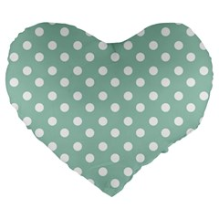 Light Blue And White Polka Dots Large 19  Premium Heart Shape Cushions