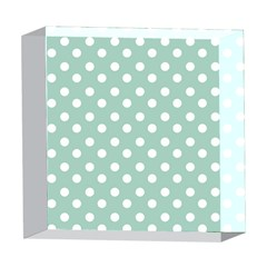 Light Blue And White Polka Dots 5  x 5  Acrylic Photo Blocks