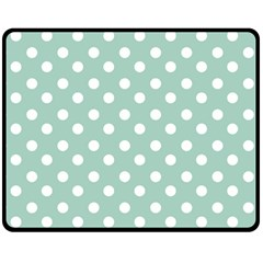 Light Blue And White Polka Dots Double Sided Fleece Blanket (Medium)