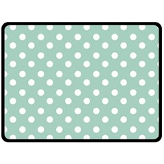 Light Blue And White Polka Dots Double Sided Fleece Blanket (Large)