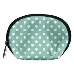 Light Blue And White Polka Dots Accessory Pouches (medium)
