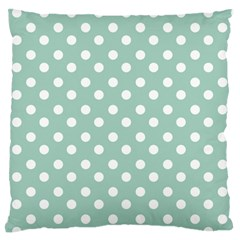 Light Blue And White Polka Dots Large Flano Cushion Cases (One Side)