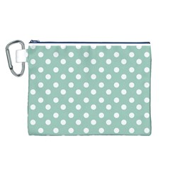 Light Blue And White Polka Dots Canvas Cosmetic Bag (L)