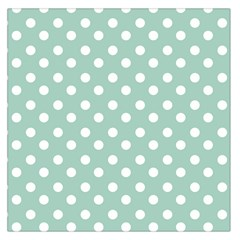 Light Blue And White Polka Dots Large Satin Scarf (square)