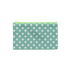 Light Blue And White Polka Dots Cosmetic Bag (xs)