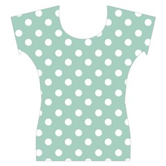 Light Blue And White Polka Dots Women s Cap Sleeve Top